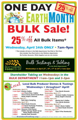 Bulk Month Tastings, Tabling, and One Day Sale!
