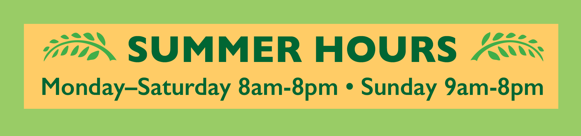 Summer Hours at the Co-op