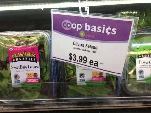 Olivia's Salads are a Co-op Basic at 3.99 for 5 oz