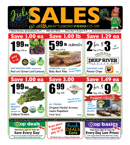 Watch the monthly calendar for dates and times. Click on the image below for a printable PDF of our current sales flyers.
